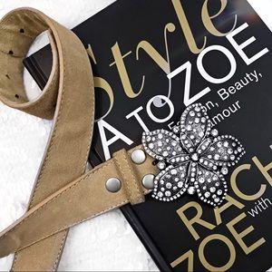 Rhinestone flower leather belt